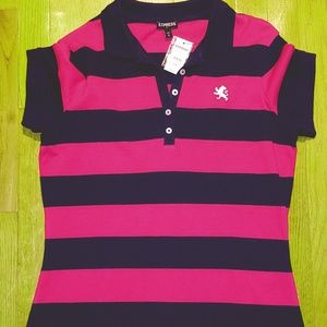 Pink and Navy Striped Express Polo